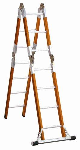 Louisville Ladder L-3092-15 300-Pound Duty Rating Fiberglass Articulated Folding Ladder, 15-Foot