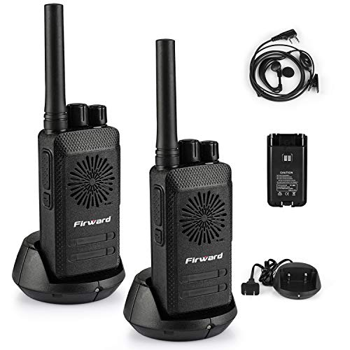 Firward Updated Walkie Talkies for Adults Long Range Walkie Talkie Rechargeable Two Way Radios Up to 4 Miles in The Open Filed 16 Channels with Earpieces/Headphones 2 Pack Woki Toki