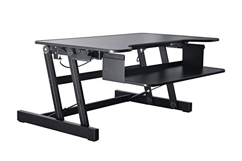 Rocelco ADR Standing Desk   Height Adjustable Sit Stand Desk Converter   Dual Monitor Capable   32 wide With Retractable Keyboard Tray   Black Finish