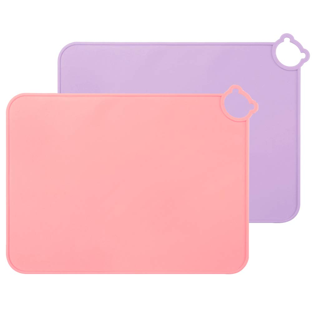 ME.FAN Silicone Placemats for Kids Baby Toddlers Non-Slip   Tablemats Stain Resistant Anti-Skid Reusable Dishwasher Safe Table Mats   Portable Food Mat Travel Set of 2 (2 Set-Purple-Pink)