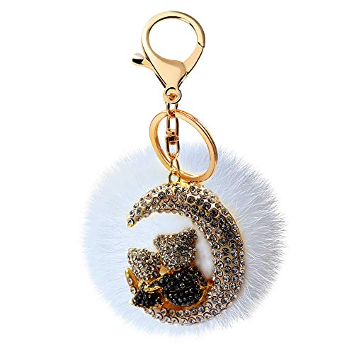 Uloveido Lovely Black Sparky Bling Crystal Rhinestones Lovers Bear and Moon Keychains with White Rabbit Fur Ball Pom Pom Charm Couples Key Ring Car Phone Purse Bag Decoration Holiday Gift YS851 Black ()