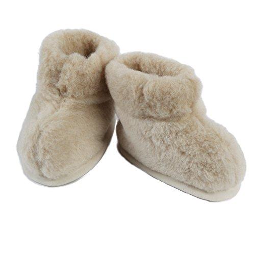 Hausschuhe für Kinder Hüttenschuhe Merino Wolle Unisex beige (30/31)