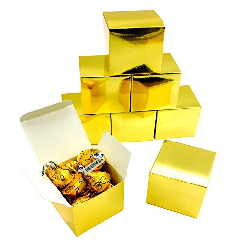 Gold Party Favor Boxes Cube Candy Boxes Set Thank You Treat Gift Box Bulk Wedding Baby Shower Christmas Party Favors Boxes Supplies 2x2x2 Inch, -