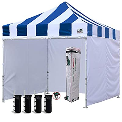 Eurmax 10'x10' Ez Pop-up Canopy Tent Commercial Instant Canopies with 4 Removable Zipper End Side Walls and Roller Bag, Bonus 4 SandBags(Carnival Blue) : Garden & Outdoor