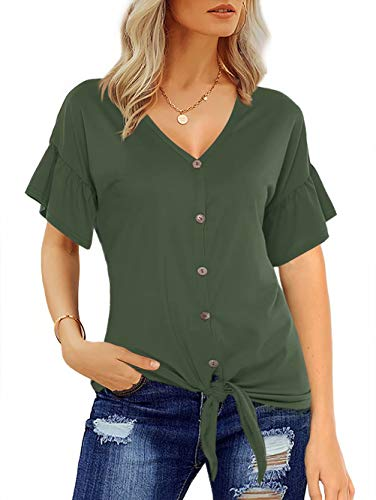 Florboom Summer V Neck Tie Front Knot Tops Womens Short Sleeve Shirts Green