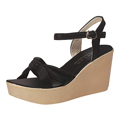 Realdo Women Boho Wedges Sandals,Women's Fashion Bohemian Solid Peep Toe Bow Tie Super High Platform Shoes