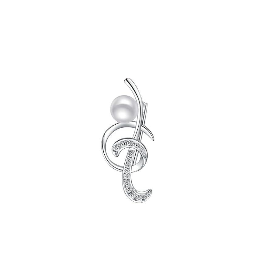 Sinya Treble Clef Music Note Pin Brooch Badge in 925 Sterling Silver Genuine FreshWater Cultured Pearl