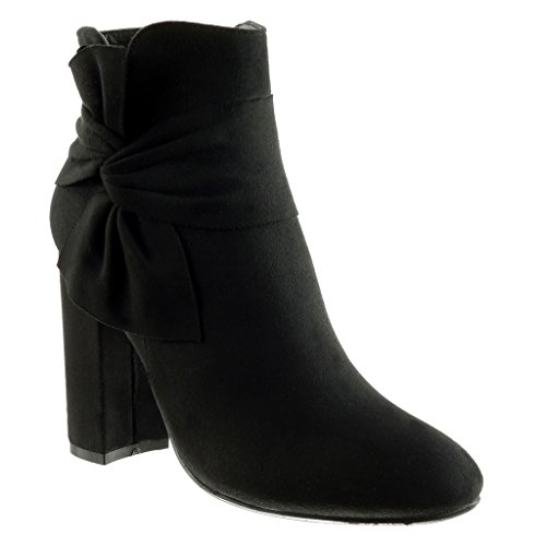 high CM Ankle Booty Angkorly boots Shoes Women's Black Block knot node 10 cavalier Fashion heel qwffvOZt