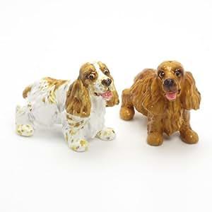 English Cocker Spaniel Dog Ceramic Figurine Salt Pepper Shaker 00005 Ceramic Handmade Dog Lover Gift Collectible Home Decor Art and Crafts
