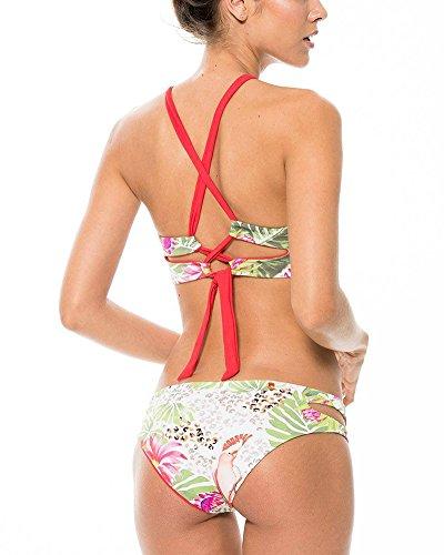 Traje de Baño Mujeres Floral Impresión Push-up Flounce Triángulo Bikini Conjunto Como la Imagen 1