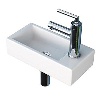 Waschbecken Klein neg waschbecken uno41h klein eckig armatur rechts hänge