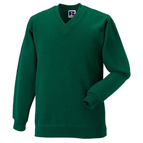 Russell Workwear V-Neck Sweatshirt Top (XXL) (Bottle Green)