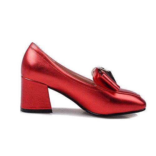 Pumps Schuhe Blend Ziehen auf Rot Zehe AllhqFashion Rein Mittler Absatz Quadratisch Damen qwBOvzxE