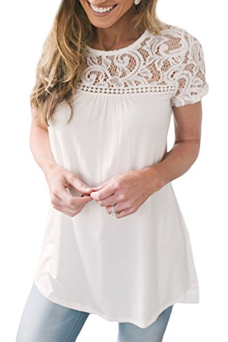Spadehill Women Floral Lace Plain Elegant T Shirt Short Sleeve Summer Casual Blouse White S ()