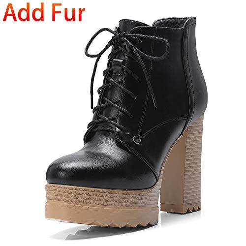Botines Estrenar Botas Hoesczs Black With El De Fur Zapatos Cuadrado Invierno A 32 Piel Plataforma Tamaño Más Altos Tacones Mujer Calientes Agregar 42 Moda Sq5Hwxq