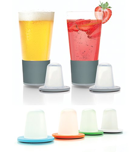 (Dimple - Self Chilling Pint Glasses for Beer, Adult Beverages, Juices, Smoothies, and Shakes - Get The Perfect Temperature Drink Without Ice - Bonus Pack (16oz. Pint Glasses, Set of 2) )