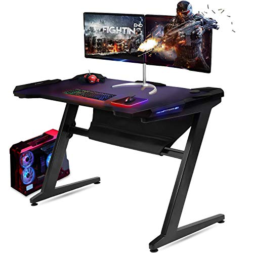 GTRACING Gaming Desk Racing Computer Table with LED Light PC Stand Ergonomic Durable Z-Shaped E-Sports Desk Home Office Workstation GTZ01 Black
