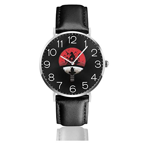 Men's Fashion Minimalist Wrist Watch ClanMashup with Itachi Mangekyou Sharingan Sasuke Leather Strap Watch -