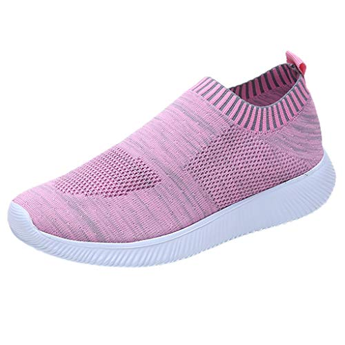 RAINED_Women Running Shoes Sneakers, Outdoor Mesh Solid Color Sports Shoes Breathable Shoes Running Sneakers Pink ()