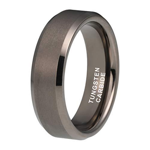 iTungsten 6mm 8mm Gunmetal Tungsten Rings for Men Women Wedding Bands Matte Finish Beveled Edges Comfort Fit (Rings For Men Size 6)