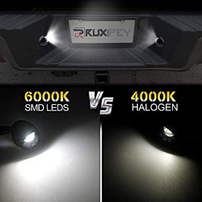 RUXIFEY LED License Plate Light with Socket Wiring Harness Plugs Compatible with Ford F150 F250 F350 F450 F550 Superduty Ranger Explorer Bronco Excursion Expedition, 6500K White: Automotive