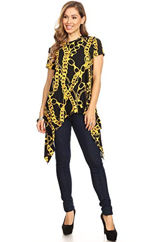 Madelyn Rose #431VERBY Chain Print, Tunic top in a Relaxed fit with a Crew Neckline, Short Sleeves, and Asymmetrical Hem. (1X) Black/Gold