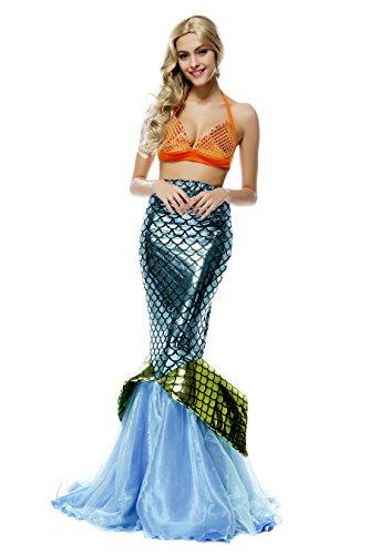 Vestido brillante de sirena para mujer, 2 piezas, para noche de fiesta, fiestas de disfraces o Halloween Azul