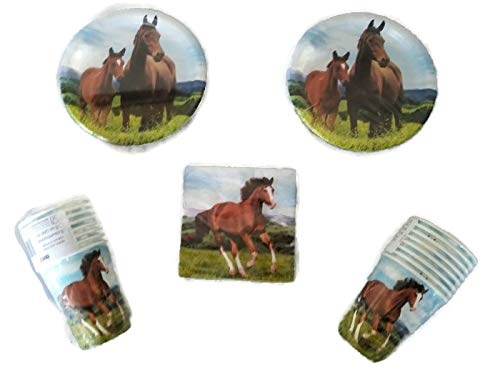Horse and Pony Party Bundle 7'' Plates (16) 9 oz. Cups (16) Napkins (16) by Party Creations