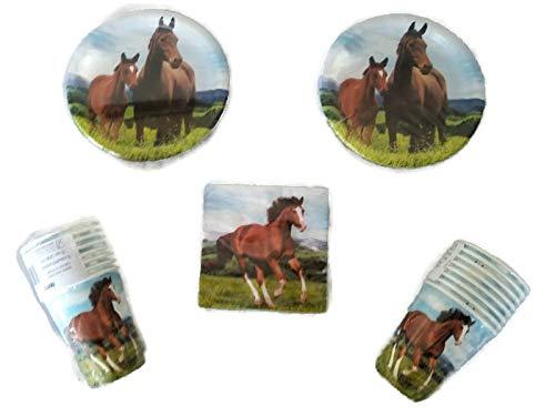 Horse and Pony Party Bundle 7'' Plates (16) 9 oz. Cups (16) Napkins (16)
