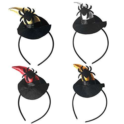 FunPa 4PCS Hair Band Party Headband for Halloween Hair Hoop Ox Horn Hat Spider Decor