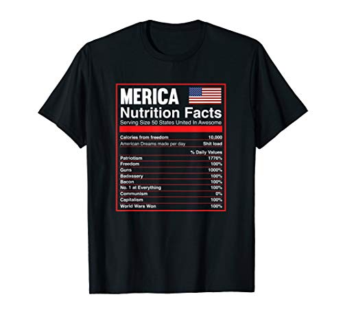 Patriotic Merica Nutrition Facts T-Shirt America Flag
