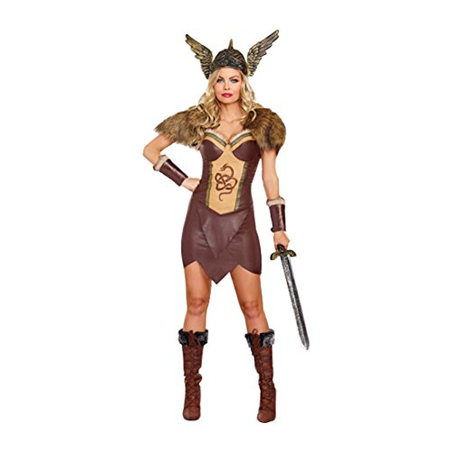 Viking Costumes Woman - Dreamgirl Women's Voracious Viking Costume, Brown/Beige,