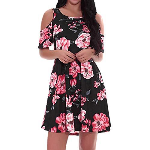 (A-Line Women Elegant O-Neck Half Sleeve Pocket Sashes Knee-Length Casual Dress (Red, S))