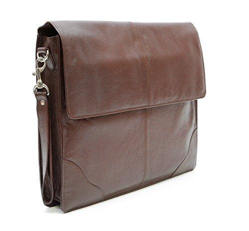 Ashlin Genuine Leather Underarm Laptop Briefcase, Dark Brown - Underarm Leather Briefcase