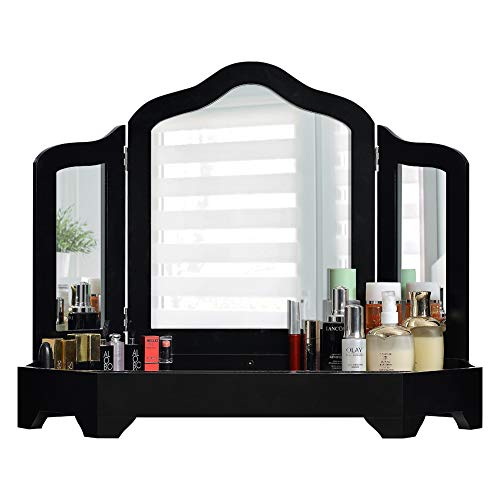 DELMANGO Desktop Vanity Set with Tri-fold Mirror Dressing Table,Rotatable Makeup Mirror Cabinet,Simple Vanity Set Without Table Chair,Black (Table Chair Makeup)
