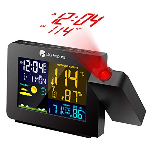 (Dr. Prepare Projection Alarm Clock for Bedrooms with Indoor & Outdoor Temperature Display Dual Alarms Multi-Colored Backlight Projection Clock with Weather Forecast)