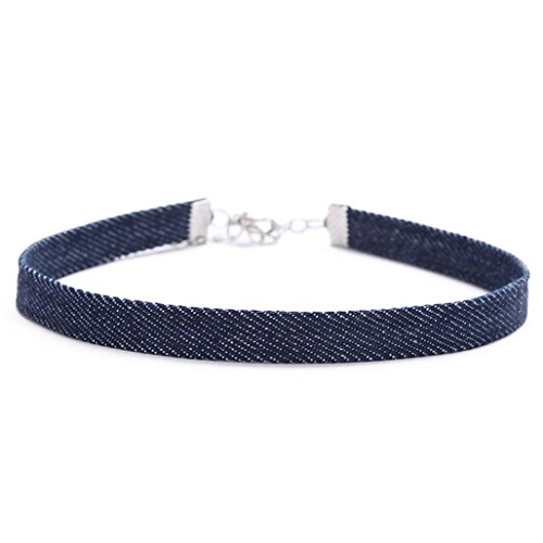 ecklaces Denim Choker,Blue Jean Choker Necklace Punk Hip Hop Collar for Women (C) ()