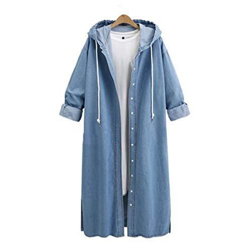 UONQD Women Hooded Long Sleeve Denim Jacket Long Jean Coat Outwear Overcoat (Small,Light Blue) -