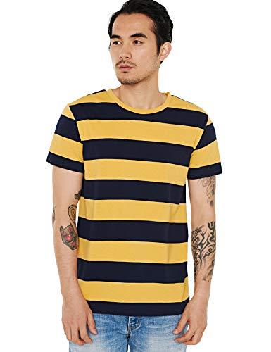 Zbrandy Wide Striped T Shirt for Men Cotton Breton Tee Basic Stripes Black Yellow ()