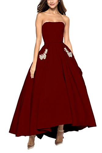Weddder High Low Prom Party Dresses Strapless Beaded Satin Evening Gown Cocktail Dress Burgundy Size 16