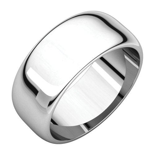 14k White Gold 8mm Half Round Band Ring - Size 6 ()