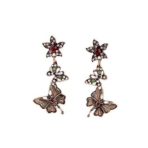 [Pop Wild Women Retro Flower Butterfly Pendant Earrings] (Donut Costume Homemade)
