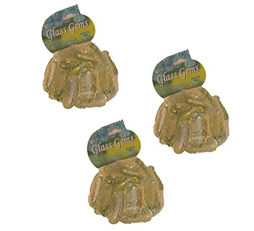 Set of 3 Bags of Clear 14 oz Glass Decorative Gems
