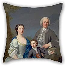 16 X 16 Inches / 40 By 40 Cm Oil Painting Andrea Soldi - Sir Robert And Lady Smyth With Their Son, Hervey Cushion Cases Two Sides Is Fit For Lover Saloon Shop Living Room Christmas Office