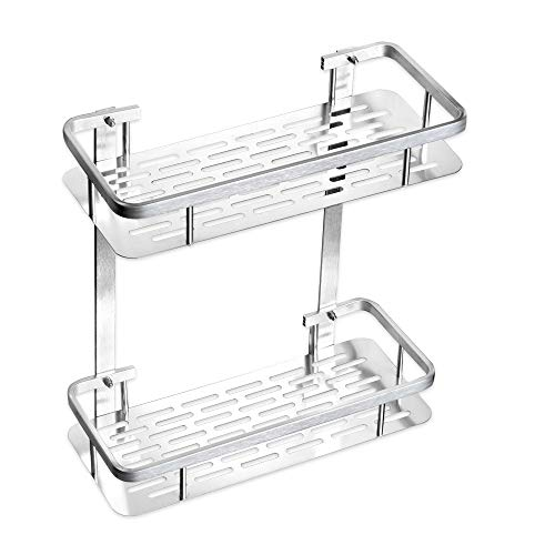 Cheap  No Drilling Wall Mounted Bathroom Shelf Organizer, TIANG 2 Tiers Aluminum Adhesive..