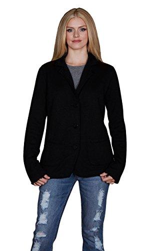 Vintage Black Velvet Blazer Jacket (Velvet by Graham and Spencer Alinn Raw Edge French Terry Blazer, Black,)