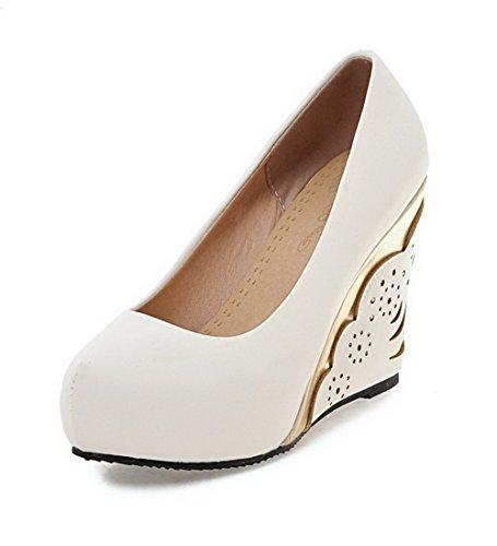 AgooLar Damen Rein PU Hoher Absatz Ziehen auf Rund Zehe Pumps Schuhe, Gelb, 40