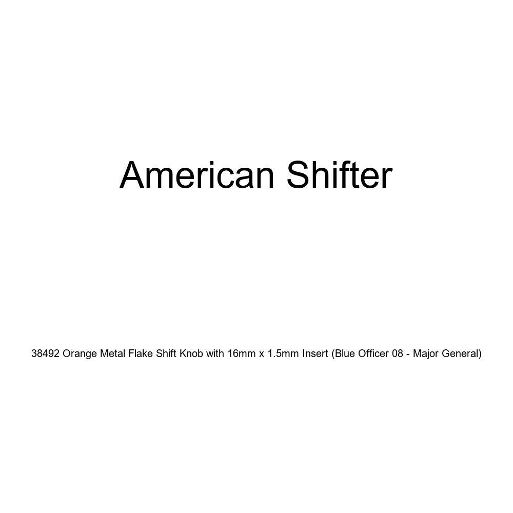 Blue Officer 08 - Major General American Shifter 38492 Orange Metal Flake Shift Knob with 16mm x 1.5mm Insert