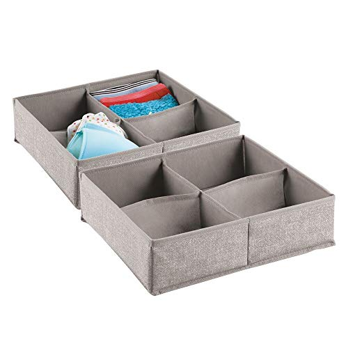 mDesign Soft Fabric Dresser Drawer and Closet Storage Organizer Bin for Lingerie, Bras, Socks, Leggings, Clothes, Purses, Scarves - Divided 4 Section Tray - Textured Print, 2 Pack - Linen/Tan