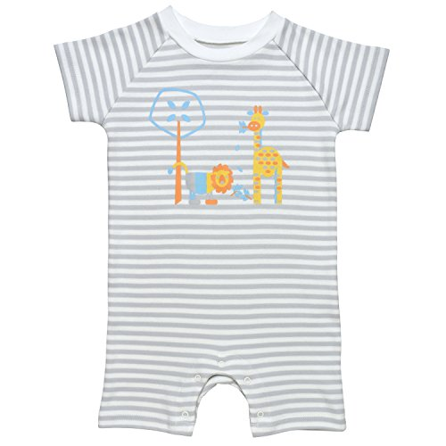 Under the Nile Baby Boy Romper Size 12-18M Grey Stripe Organic Cotton with Bright ()